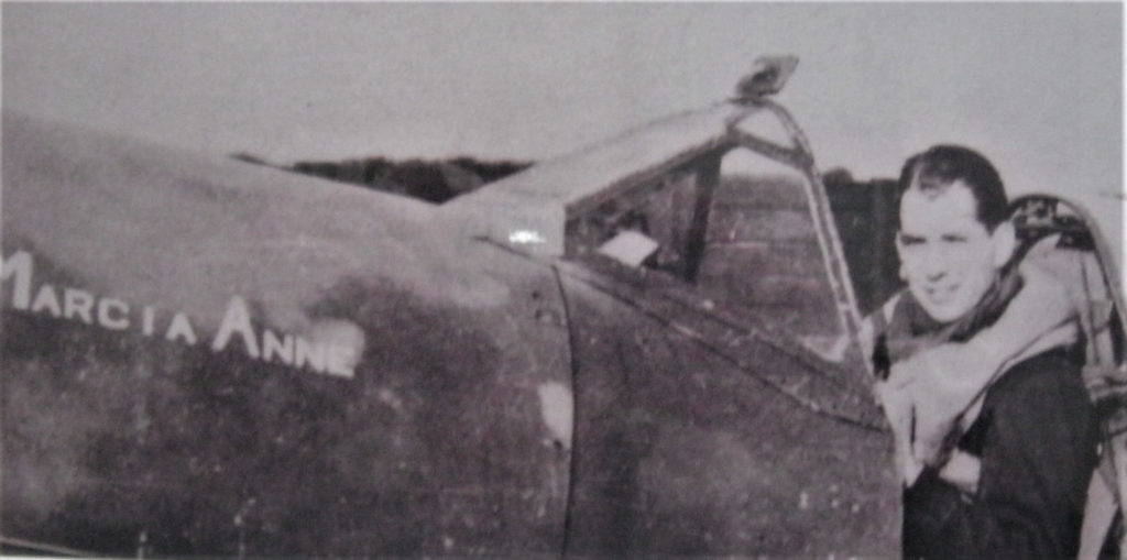 Sanders in the cockpit of his Sitfire Marcia Anne