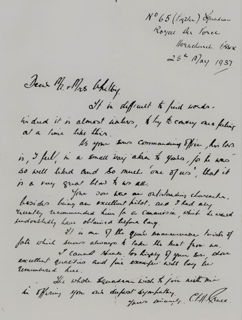 A copy of the letter sent to Mrs. Whitby, telling of her son's death