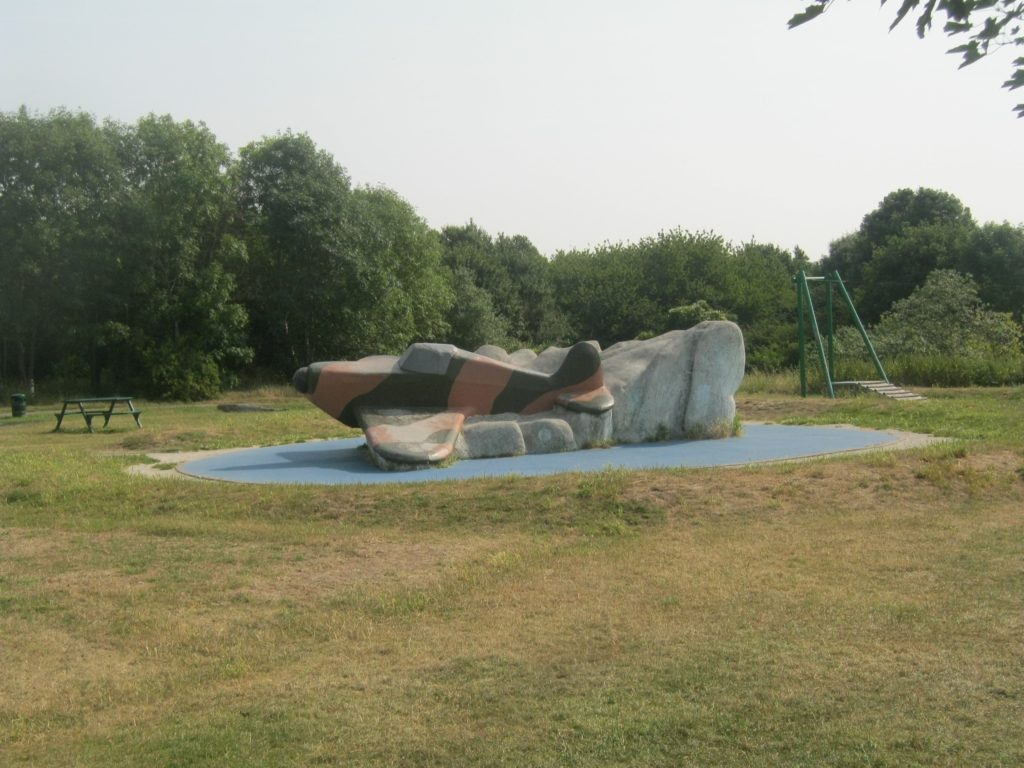 The famous Spitfire aircraft now incorporated into the children's climbing equipment