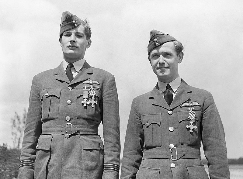 Flight Lieutenant Dickie Lee, after being awarded the DSO and DFC, and Flying Officer Kenneth Blair.