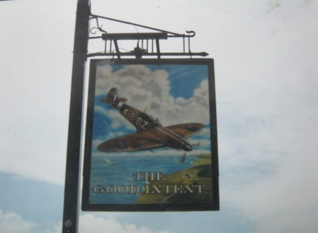 The Good Intent signage, showing a 65 squadron Spitfire in pre-war markings
