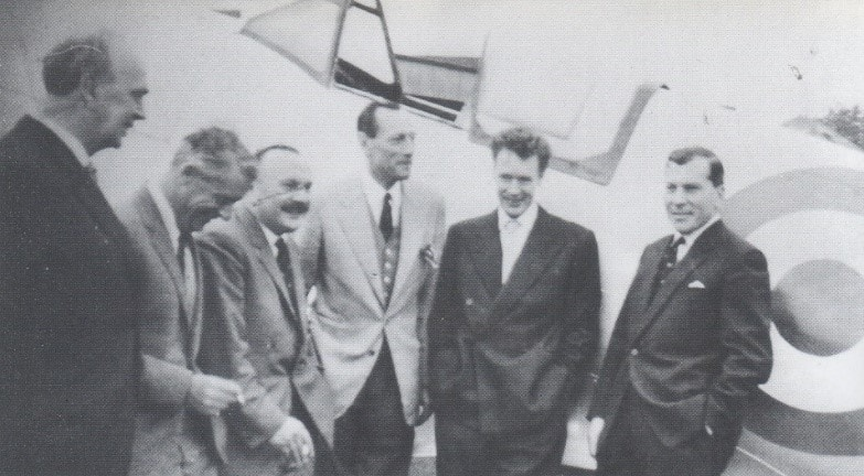 Left to right, Ronald Adam, former sector controller, Colin Gray 54 sqn, Ronald Berry 603 sqn, Robert Stanford Tuck 65 sqn, unknown and Norman Ryder 41 sqn