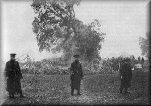 The Zeppelin wreckage at Oakmere Park 2nd October 1916.